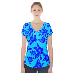 Hawaiian Ocean Short Sleeve Front Detail Top