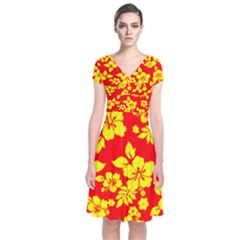 Hawaiian Sunshine Short Sleeve Front Wrap Dress
