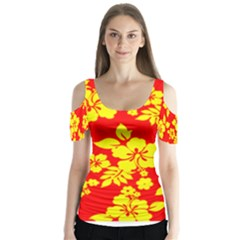 Hawaiian Sunshine Butterfly Sleeve Cutout Tee
