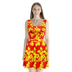 Hawaiian Sunshine Split Back Mini Dress