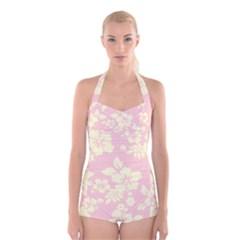Pastel Hawaiian Boyleg Halter Swimsuit