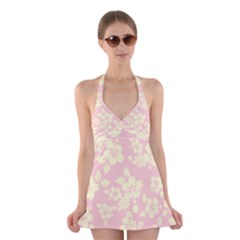 Pastel Hawaiian Halter Swimsuit Dress