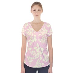 Pastel Hawaiian Short Sleeve Front Detail Top