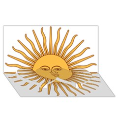 Argentina Sun of May  Twin Heart Bottom 3D Greeting Card (8x4)