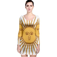Argentina Sun of May  Long Sleeve Bodycon Dress