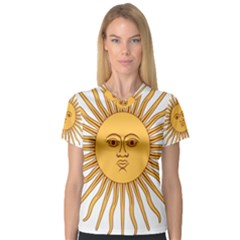 Argentina Sun of May  Women s V-Neck Sport Mesh Tee