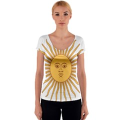 Argentina Sun of May  Women s V-Neck Cap Sleeve Top