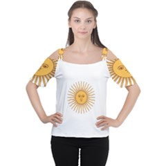 Argentina Sun of May  Women s Cutout Shoulder Tee