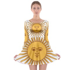 Argentina Sun of May  Long Sleeve Skater Dress