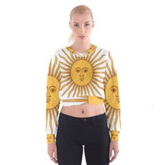 Argentina Sun of May  Women s Cropped Sweatshirt