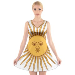 Argentina Sun of May  V-Neck Sleeveless Skater Dress