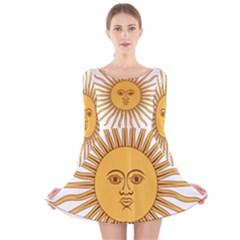 Argentina Sun of May  Long Sleeve Velvet Skater Dress