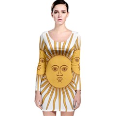 Argentina Sun of May  Long Sleeve Velvet Bodycon Dress