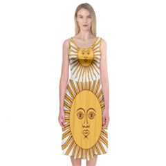 Argentina Sun of May  Midi Sleeveless Dress