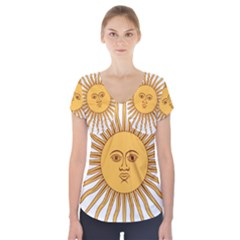 Argentina Sun of May  Short Sleeve Front Detail Top