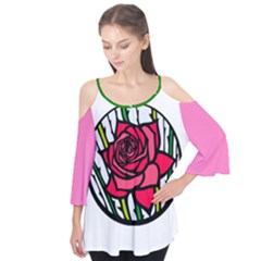 Stained Glass Rose Flutter Sleeve Top Flutter Sleeve Tee