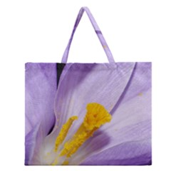 Purple Crocus Zipper Large Tote Bag