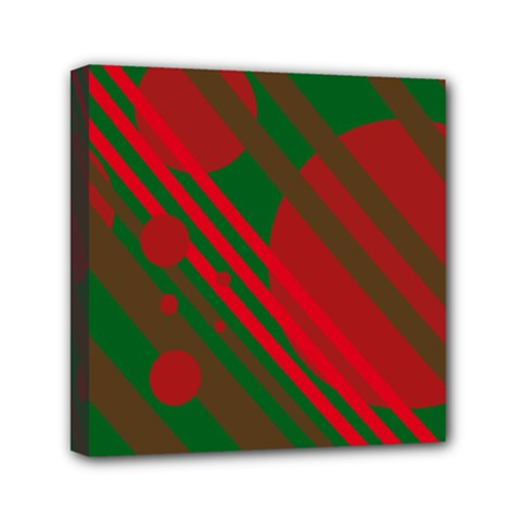 Red and green abstract design Mini Canvas 6  x 6