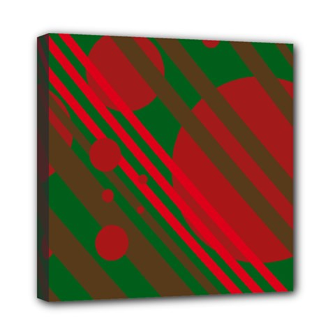Red and green abstract design Mini Canvas 8  x 8