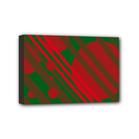 Red and green abstract design Mini Canvas 6  x 4