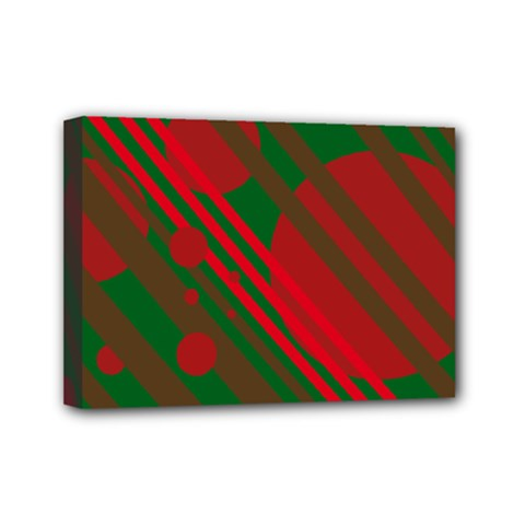 Red and green abstract design Mini Canvas 7  x 5