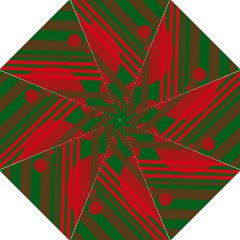 Red and green abstract design Straight Umbrellas