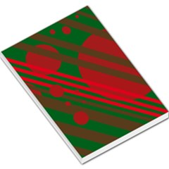 Red and green abstract design Large Memo Pads