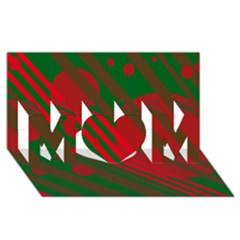 Red and green abstract design MOM 3D Greeting Card (8x4)