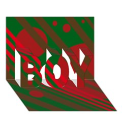 Red and green abstract design BOY 3D Greeting Card (7x5)