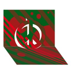 Red and green abstract design Peace Sign 3D Greeting Card (7x5)