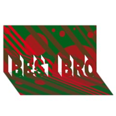 Red and green abstract design BEST BRO 3D Greeting Card (8x4)
