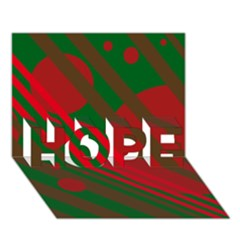 Red and green abstract design HOPE 3D Greeting Card (7x5)