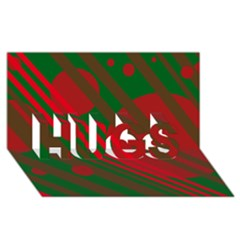 Red and green abstract design HUGS 3D Greeting Card (8x4)