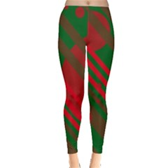 Red and green abstract design Leggings
