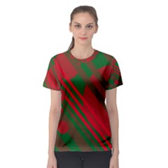 Red and green abstract design Women s Sport Mesh Tee