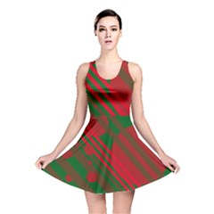 Red and green abstract design Reversible Skater Dress