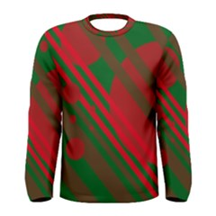 Red and green abstract design Men s Long Sleeve Tee
