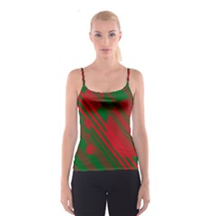 Red and green abstract design Spaghetti Strap Top