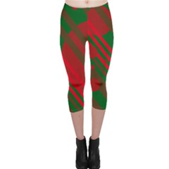 Red and green abstract design Capri Leggings