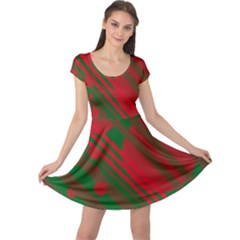 Red and green abstract design Cap Sleeve Dresses