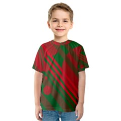 Red and green abstract design Kid s Sport Mesh Tee