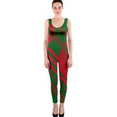 Red and green abstract design OnePiece Catsuit