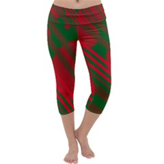 Red and green abstract design Capri Yoga Leggings