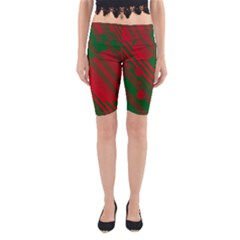 Red and green abstract design Yoga Cropped Leggings