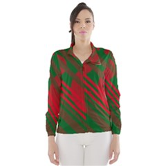 Red and green abstract design Wind Breaker (Women)