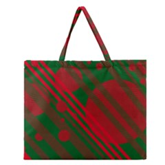 Red And Green Abstract Design Zipper Large Tote Bag