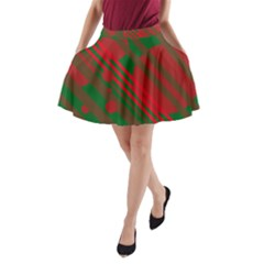 Red and green abstract design A-Line Pocket Skirt