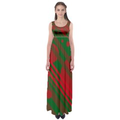 Red and green abstract design Empire Waist Maxi Dress
