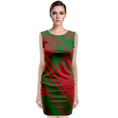 Red and green abstract design Classic Sleeveless Midi Dress