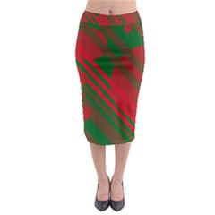 Red and green abstract design Midi Pencil Skirt